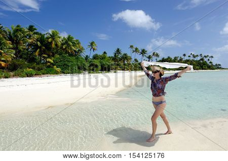Young Sexy Woman Relax On A Deserted Tropical Island