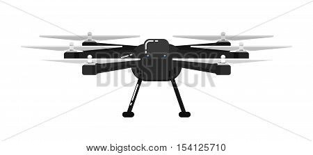Drone aircraft in flat design isolated on white background. Drone technology with remotely controlled flying robot vector illustration. Multicopter. Unmanned aerial vehicle. Modern flying device. Drone icon. Vector drone sign.