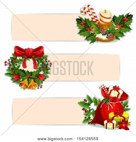 Christmas banner set of Santas gift bag with present and poinsettia flower, christmas tree wreath with holly berry, red ribbon bow and bell, candle with ilex and pine branches, candy cane and pinecone