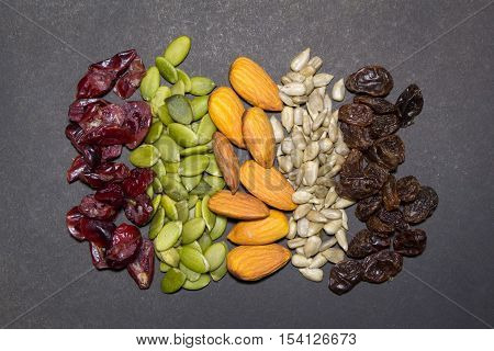 Trail Mix On The Black Background.