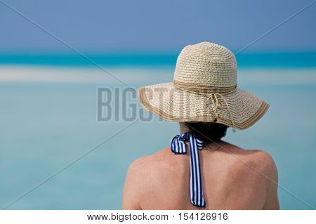 Woman Relax During Travel Vacation On Tropical Island