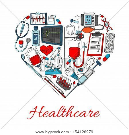 Healthcare icons in shape of heart with vector elements of medical and medicine equipment, medications objects syringe, pills, dropper, ointment, lungs, stethoscope, vial, spray, blood station