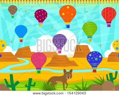 Colorful pattern of hot air balloons and a desert scene of mountains, cacti and a cute coyote. Eps10