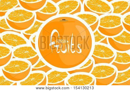 Big orange on a background of ripe oranges with a place for an inscription
