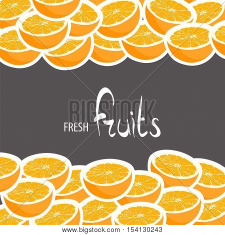 Halves of ripe oranges on a black background with a place for a signature