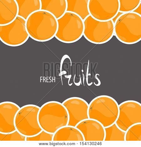 Fresh oranges on a black background with place for your inscription