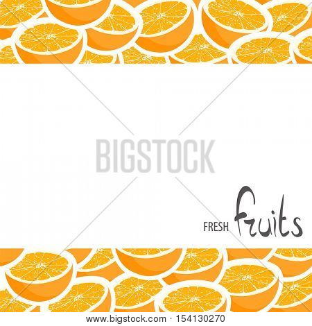 Halved oranges with white background and place for an inscription
