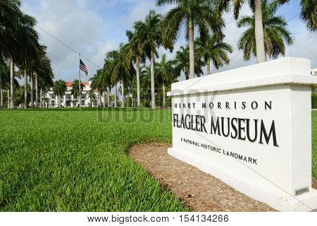 PALM BEACH, FL, USA - JAN 3, 2015: Main Entrance of Henry Morrison Flagler Museum in Palm Beach, Florida, USA. Now this Beaux Arts building is a National Historic Landmark.