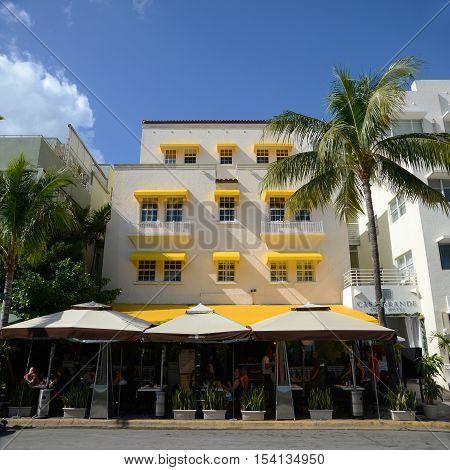 MIAMI - DEC 24: Art Deco Style Building Casa Grande Hotel in Miami Beach in the morning in Miami, Florida, USA.