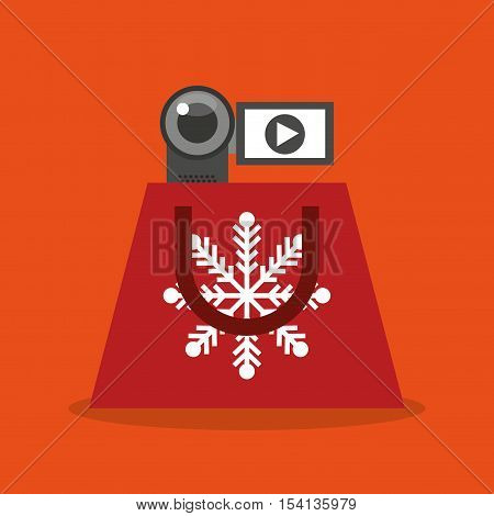 merry christmas sale with shopping bag vector illustration design