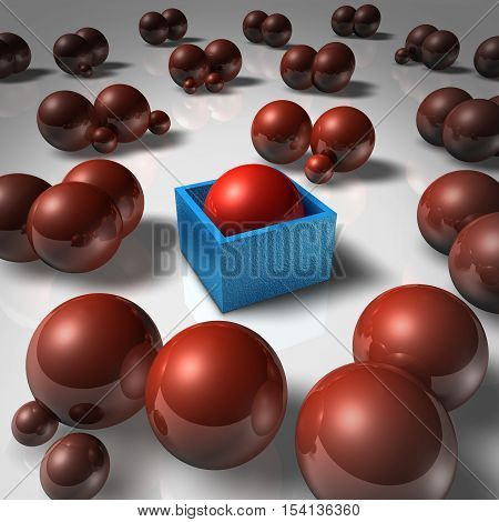 Social isolation abstract concept and lonely individual as a sphere blocked in a cube and separated from society as a psychological feeling of rejection and exclusion as a 3D illustration.