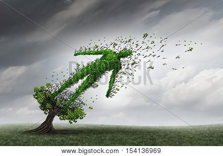 Health trouble concept and human distress symbol as a tree shaped as a person being blown and stressed by strong storm winds as a medical health care insurance crisis icon with 3D illustration elements.