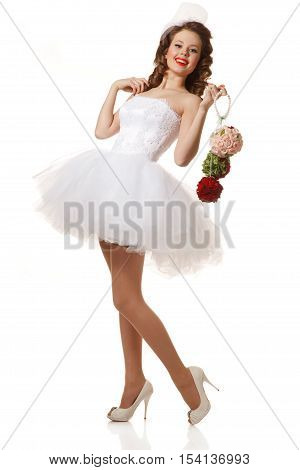 Pin-up bride portrait. Professional make-uphair and style.