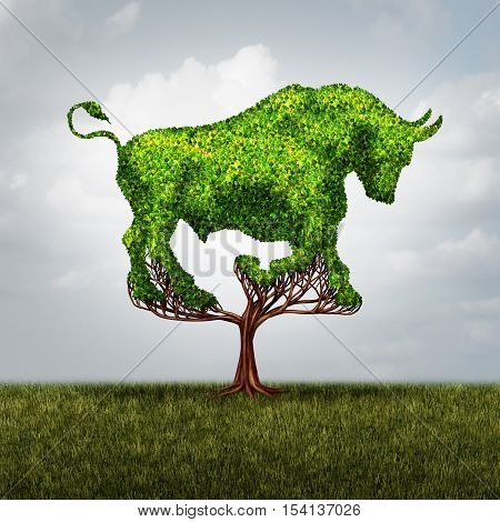 Bull market growth financial and positive investing success concept as a tree shaped as a symbol for stock market gains and profits or environmental business investor icon with 3D illustration elements.