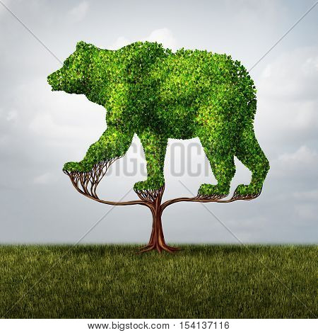 Growing bear market and financial and negative investing failure concept as a tree shaped as a symbol for stock market loss and debt or conservative environmental business investor icon with 3D illustration elements.