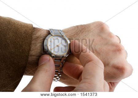 Looking The Time On Hand Watch