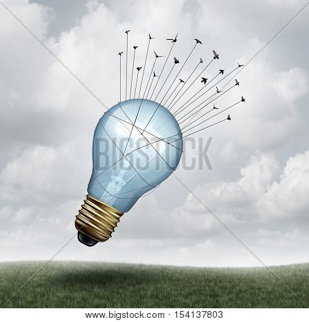 Creative connect and social thinking symbol as a group of birds pulling upward a giant lightbulb as a creativity and inspiration metaphor with 3D illustration elements.