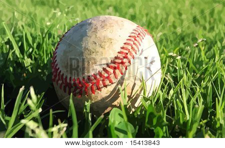 Vector Baseball On Grass