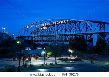 In 1915 The Ocean to Ocean Bridge in Yuma Arizona connected the highway from East coast to west over the Colorado river saving travelers thousands of miles