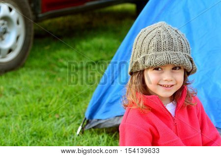 Girl On Camping Holiday