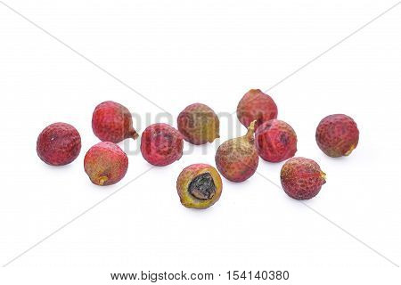 Szechuan pepper (Zanthoxylum piperitum) fruits isolated on white
