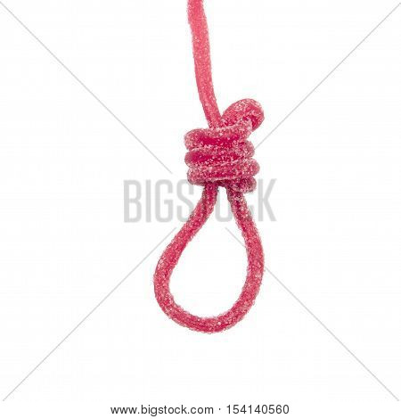 sweet slipknot. hangman noose made of sweets. the concept of unhealthy eating, harm of sugar for health. isolated on a white background