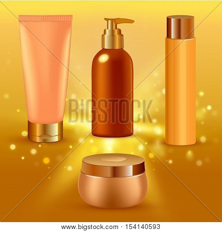 Vector illustration of Realistic yellow collagen serum tubes icon set different size tubes on gold gradient background