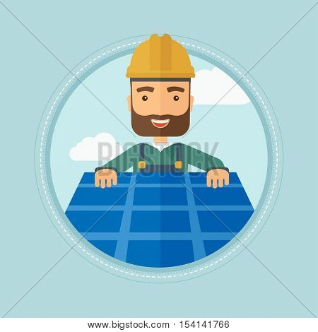 A hipster man with the beard installing solar panels on roof. Technician in inuform and hard hat checking solar panels on roof. Vector flat design illustration in the circle isolated on background.
