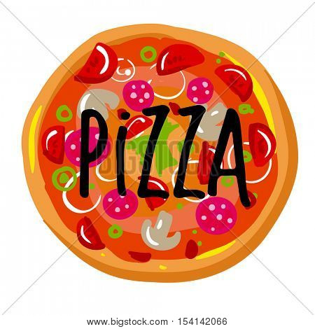 Icon of pizza slice with crust. Dinner in Italian restaurant - pizza piece with mozzarella cheese, pepperoni, pepper and tomato, salami and olive . Vector illustration isolated on white background.