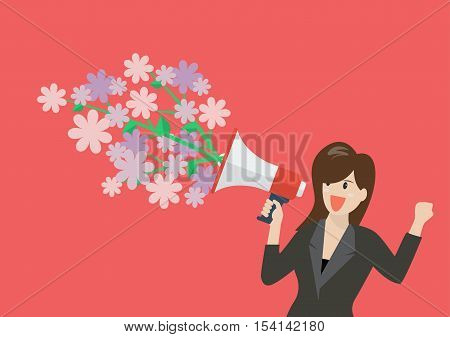 Business woman holding a megaphone with flowers. Vector Illustration