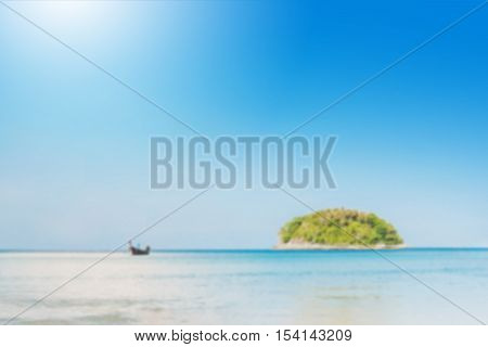 Blurred Beautiful Seascape With Blue Sea Beach Island And The Long Tail Boat Under Clear Sky In Summ