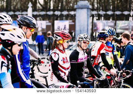 Girls Sportsmen At The Opening Of Cycling Season. Gomel, Belarus