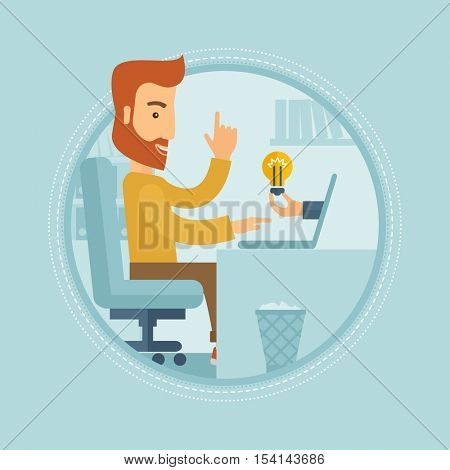 Hipster businessman with beard working on laptop in office and idea bulb coming out of his laptop. Creative business idea concept. Vector flat design illustration in the circle isolated on background.
