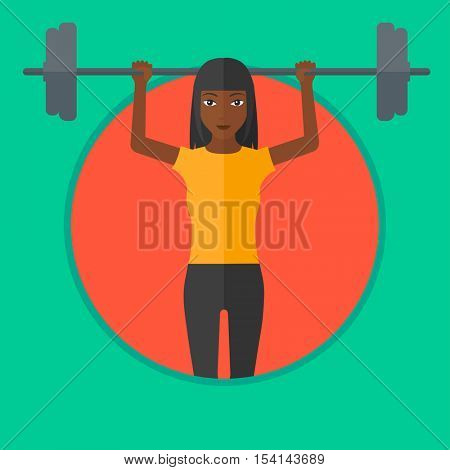 An african-american woman lifting a heavy weight barbell. Woman doing exercise with barbell. Female weightlifter holding a barbell. Vector flat design illustration in the circle isolated on background
