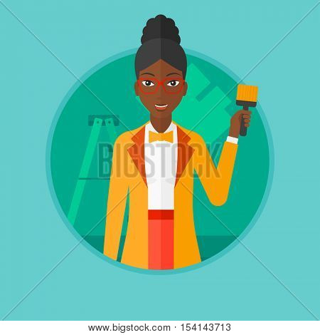 African-american female painter holding a paint brush. Painter painting walls with paint brush at home. House renovation concept. Vector flat design illustration in the circle isolated on background.
