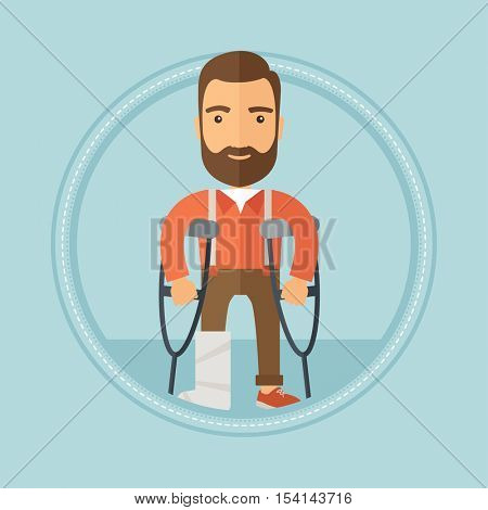 An injured caucasian hipster man with the beard standing on crutches. Young man with broken leg in bandages using crutches. Vector flat design illustration in the circle isolated on background.