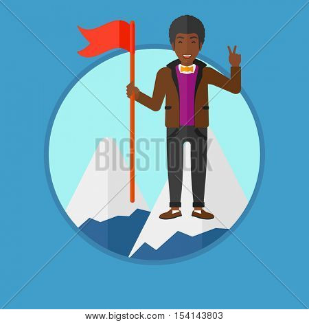 An african-american happy young businessman holding a red flag on the top of the mountain. Cheerful winner and leader concept. Vector flat design illustration in the circle isolated on background.