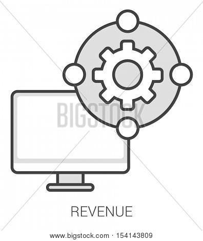 Revenue infographic metaphor with line icons. Project revenue concept for website and infographics. Vector line art icon isolated on white background.