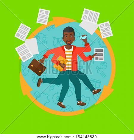 An african-american businessman with many legs and hands holding papers, briefcase, phone. Multitasking and productivity concept. Vector flat design illustration in the circle isolated on background.