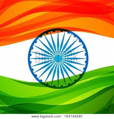 Indian Tri-color Flag Background Vector Design Illustration
