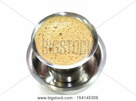 Madras filter coffee is famous coffee in India. Coffee is prepared with roasted coffee powder, milk and sugar. It is served hot in stainless steel cup