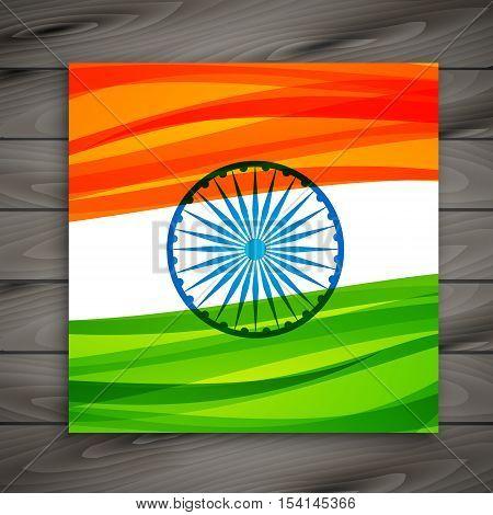 Indian Flag Card Template Vector Design Illustration