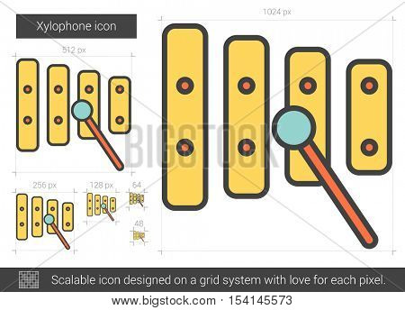 Xylophone vector line icon isolated on white background. Xylophone line icon for infographic, website or app. Scalable icon designed on a grid system.