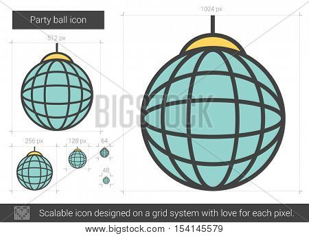 Party ball vector line icon isolated on white background. Party ball line icon for infographic, website or app. Scalable icon designed on a grid system.