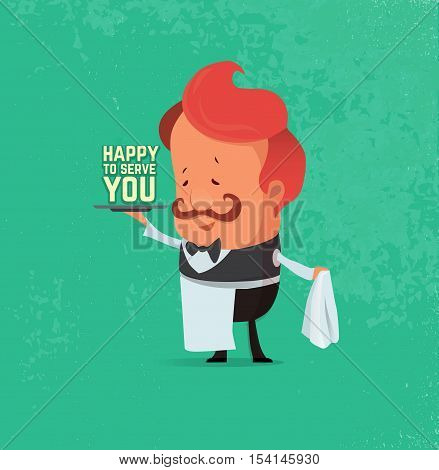 Waiter serving. Vector flat illustration, retro background