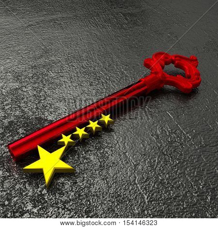 Red vintage key to china with golden star symbols on a rough black stone table 3D illustration