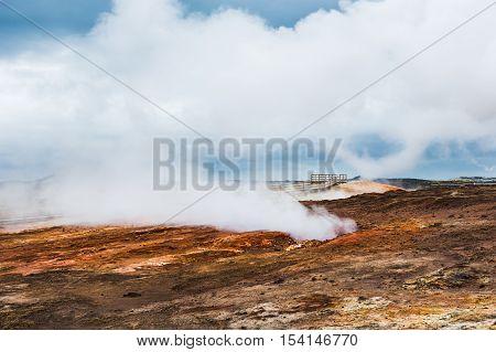 Gunnuhver geothermal area in Reykjanes peninsula Iceland poster