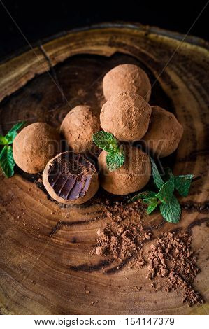 Chocolate mint truffles, homemade chocolate truffle. Vertical, selective focus. Shamrock sweets