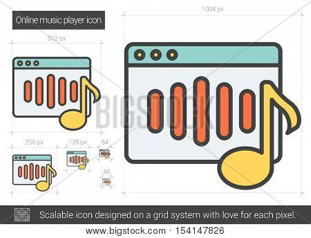 Online music player vector line icon isolated on white background. Online music player line icon for infographic, website or app. Scalable icon designed on a grid system.