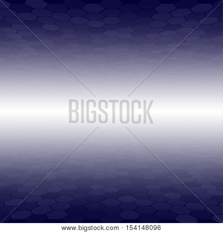 Mosaic Tile Honeycomb Vector Background. Perspective Comb Halftone Fone. Blue Background. Vector illustration for Web Design.